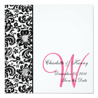 floral damask; save the date card