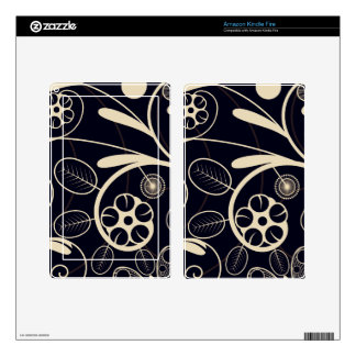 Floral Damask tan black Decal For Kindle Fire