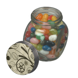 Floral Damask tan Jelly Belly Candy Jars