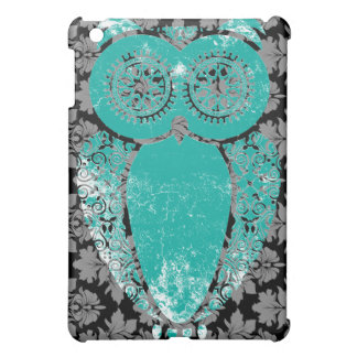 Floral Damask Teal Hoot Owl  Preppy Grunge Cover For The iPad Mini
