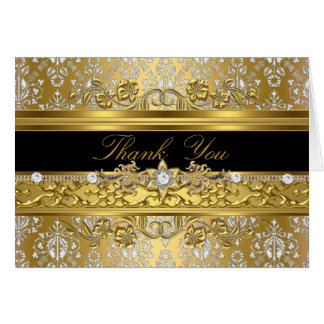 Floral Damask Thank You Card