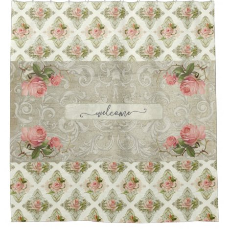 Floral Damask Vintage Modern Watercolor Welcome Shower Curtain