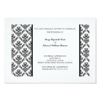 Floral damask wedding invitation