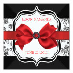 """Floral Damask Wedding Invite with Bow 5.25"""" Square Invitation Card"""
