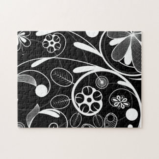 Floral Damask white black Jigsaw Puzzle