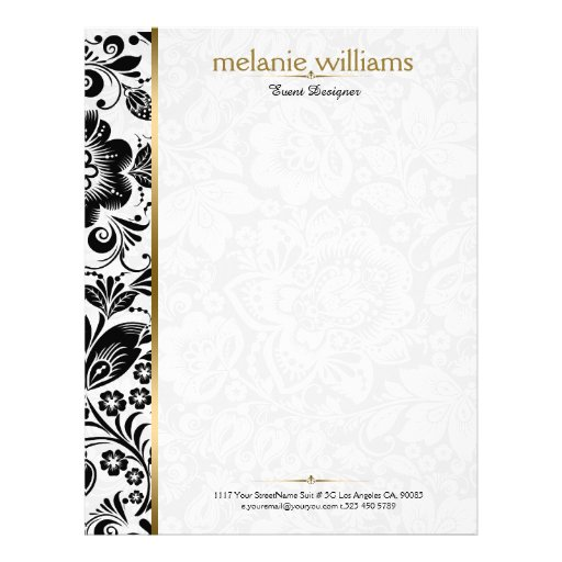 Floral DamasksIn Black & White With Gold Accents Letterhead