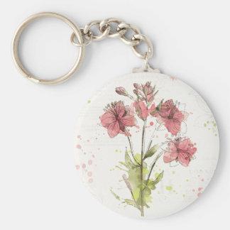 Floral Dark Pink Splash Keychain