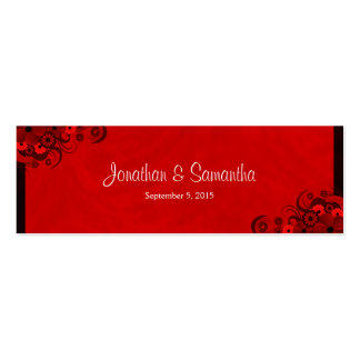 Floral Dark Red Floral Gothic Wedding Favor Tags Double-Sided Mini Business Cards (Pack Of 20)