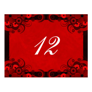 Floral Dark Red Goth Reception Table Number Cards
