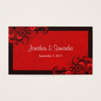 Floral Dark Red Gothic Custom Wedding Favor Tags