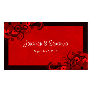 Floral Dark Red Gothic Custom Wedding Favor Tags Double-Sided Standard Business Cards (Pack Of 100)