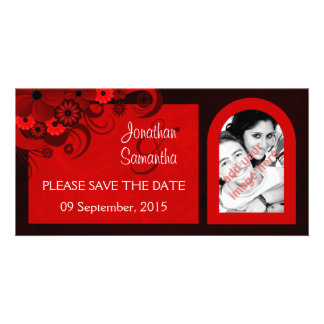 Floral Dark Red Gothic Save The Date Photo Cards