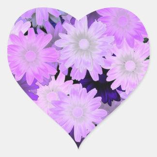 Floral de color de malva pegatina de corazón personalizadas