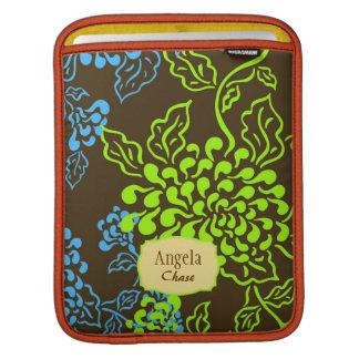 Floral de Contempo Brown cal azul personalizado Funda Para iPads