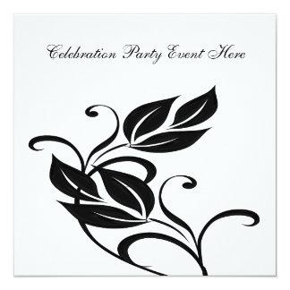 """Floral de cristal negro blanco elegante todos los invitación 5.25"""" x 5.25"""""""