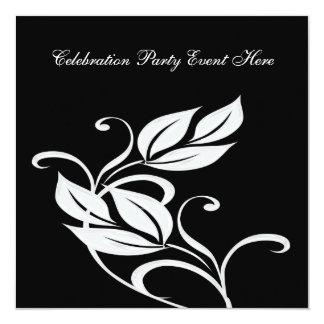 """Floral de cristal negro y blanco elegante todos invitación 5.25"""" x 5.25"""""""