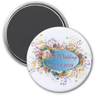 ~ floral de Deco nuestro imán del boda