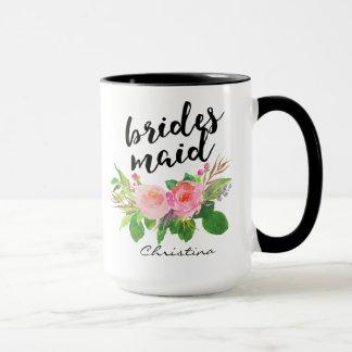 Floral de la acuarela de la dama de honor taza