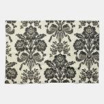 Floral de moda elegante del vintage negro rústico toalla
