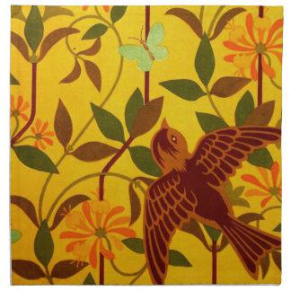 Floral de oro con la materia textil del pájaro servilletas