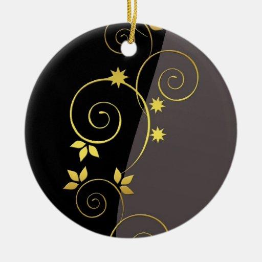 Floral de oro ornaments para arbol de navidad