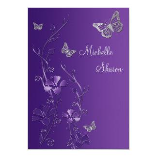 """Floral de plata púrpura con el palo Mitzvah de Invitación 5"""" X 7"""""""