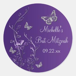 "Floral de plata púrpura con las mariposas 1,5"" pegatina redonda"