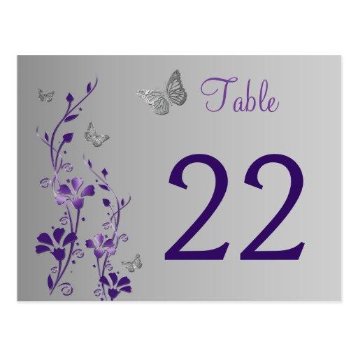 Floral de plata púrpura con número de la tabla de  tarjeta postal