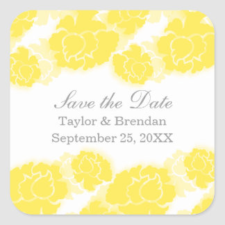 Floral Decadence Save the Date Stickers, Yellow Square Sticker