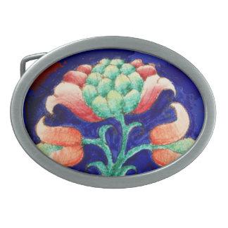 FLORAL DECOR Blue,Pink,Green Oval Belt Buckles