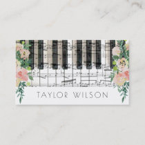 floral decor pianist music teacher business card