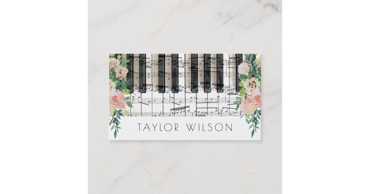 floral decor pianist music teacher business card | Zazzle.com