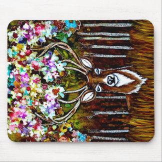 Floral Deer Antler Art Mousepad