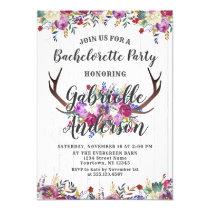 Floral Deer Antler Bachelorette Party Invitation