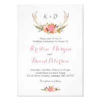 Floral Deer Antler Boho Chic Wedding Celebration Card