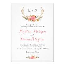 Floral Deer Antler Boho Chic Wedding Celebration Card