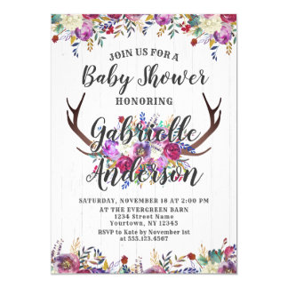 Floral Deer Antler Bouquet Baby Shower Invitation