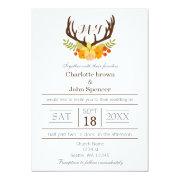 floral Deer Antler Monogram wedding invitations by mgdezigns