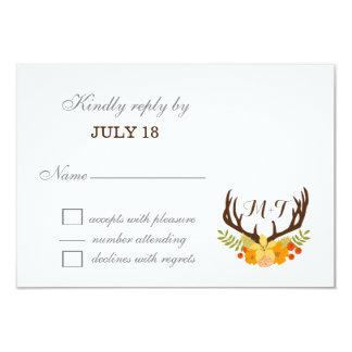 """floral Deer Antler Monogram wedding RSVP cards 3.5"""" X 5"""" Invitation Card"""