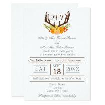 Floral deer Antler Wedding Stationery Card