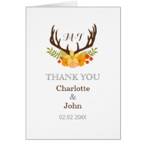 Floral deer Antler Wedding Stationery Card