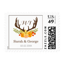 Floral deer Antler Wedding Stationery Postage