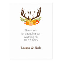 Floral deer Antler Wedding Stationery Postcard