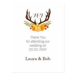 Floral deer Antler Wedding Stationery Postcard