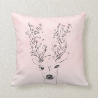 Floral deer antlers pink watercolor illustration throw pillow