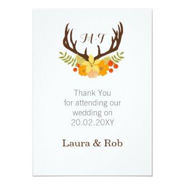 Floral deer Blooming Antler Wedding Card
