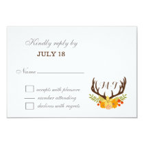 Floral deer Blooming Antler Wedding Card