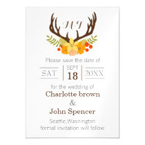 Floral deer Blooming Antler Wedding Magnetic Card