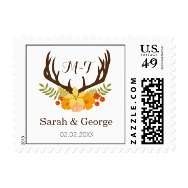 Floral deer Blooming Antler Wedding Postage