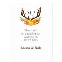 Floral deer Blooming Antler Wedding Postcard